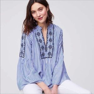 LOFT • striped mosaic embroidered bell sleeve top